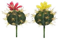 Cactus Tondo Con Fiore Pianta Artificiale Cm 17 Coppia 2 Colori