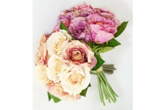 Bouquet Rose Greta H.30 Cm Con Foglie