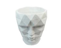 Vaso Testa Uomo Cemento Bianco Piccola