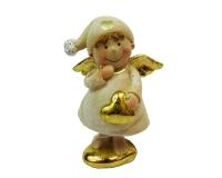 Angelo Crema Oro Cm 12 Cuore Decorazione Natale