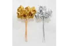 72 Roselline Con Foglie Oro/argento Per Bomboniere Fai Da Te