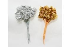 144 Fiorellini Oro/argento Con Pistilli E Foglie