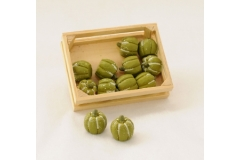 12 Zucche Mignon Verdi Con Scatola In Legno