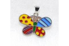 Ciondolo A Farfalla Multicolor In Metallo