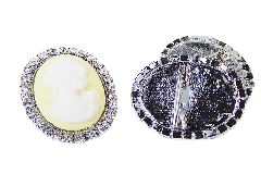 Pz 1 Spilla Cameo Donna Con Strass Accessori Wedding