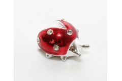 12 Coccinelle Laccate Rosse Con Strass