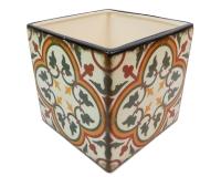 Cubo Maiolica 13x13x13 Decorazione Composizione Floreale
