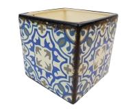 Cubo Maiolica 12x12x12 Decorazione Composizione Floreale