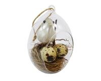 Uovo Vetro C/nido Uccellino Uova Cm 12 Primavera Pasqua