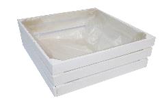 Cassetta Quadrata Bianca 21x21 H.9 Cm Decorazione Arredo Legno