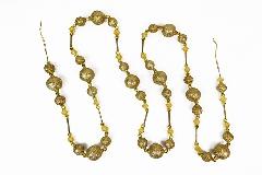 Filo Decorazione Perle Glitter Oro 200 Cm Natale