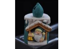 Porta Tealight Ceramica Babbo Natale A Candela 12x7 Cera Scaldavivande