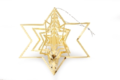Pz 1 Decorazione Stella Metallo Oro 12 Cm Decorazione Albero Di Natale