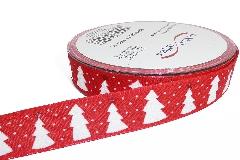 Nastro Tessuto Rosso Alberello Mm 25 Mt 20 Confezionamento Decoro Natale