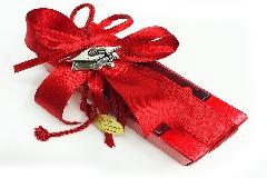 Bomboniera Scatoletta Trasparente E Rossa Con Ciondolo Cappello Laurea
