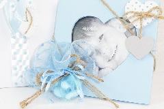 Bomboniera Quadro Celeste Con Cuore Battesimo/nascite Bimbo