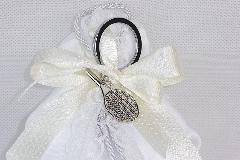 Bomboniera Sacchetto Raso Bianco Con Portachiavi Racchetta Tennis Metallo