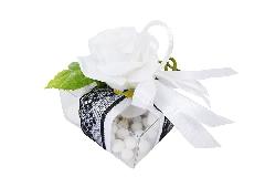 Bomboniera Scatola PVC Pizzo Nero Con Fiore Wedding