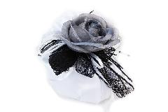 Bomboniera Saccoccio Raso Nastro Pizzo Nero Pick Rosa Grigia Wedding
