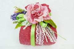 Bomboniera Sacchetto Moirè Rosa Scuro Pick Fiore Lavanda Wedding