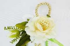Bomboniera Sacchetto Bianco Ricamato Pick Fiore E Foglie Wedding