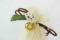 Bomboniera Sacchetto Flower Organza Fedi Oro Con Strass 50 Anniversario