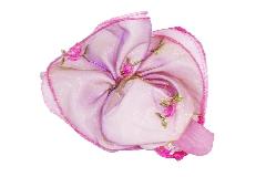 Bomboniera Sacchetto Rosa Organza Con Fiori Ricamati