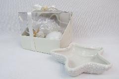 Bomboniera Scatola Duo Con Stella Marina Ceramica Candela E Tulle Portaconfetti