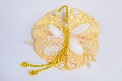 Bomboniera Sacchetto Farfalla Grosgrain Gialla C/coccinella Portafortuna