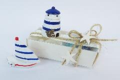 Bomboniera Scatola Portaconfetti Faro/barca Evento Linea Mare