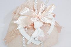 Bomboniera Sacchetto Rosa Organza App. Cuore Gesso/legno Ballerina