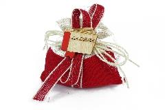 Bomboniere Laurea Sacchetto 10 Cm Cotone Rosso Con Applicazione Laurea Legno