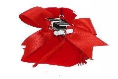 Bomboniera Sacchetto Velluto Rosso Ciondolo Cappello Laurea In Metallo Nero