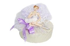 Bomboniera Carillon Ballerina Con Glitter D.10xH.10 Cm Tulle Bianco Comunione Cresima