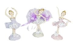 Bomboniere Cresima Ballerina 12 Cm  Colori Assortiti Tulle Bianco Nastro Lilla