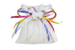 Bomboniera Sacchetto Unicorno Con Nastri Multicolor