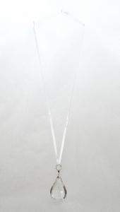Goccia In Acrilico Trasparente Con Nastro In Raso 6.5 Cm