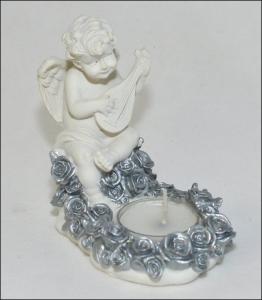 Angelo Inginocchiato Bianco/argento