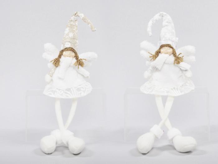 Angelo Tessuto Seduto Cm 23 Cappello Oro/argento Glitter Natale