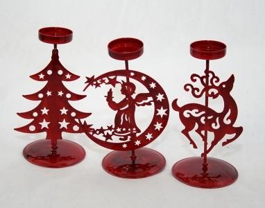 Porta Tea-light In Metallo Sagomato Rosso