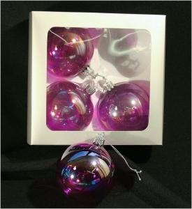 4 Sfere In Vetro Specchiato Palle Albero Natale