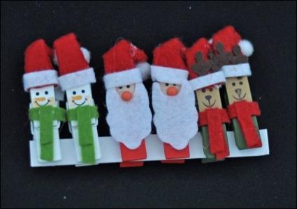 6 Clip Molletta Legno Babbo Natale E Pupazzi Neve Panno Dipinte A Mano