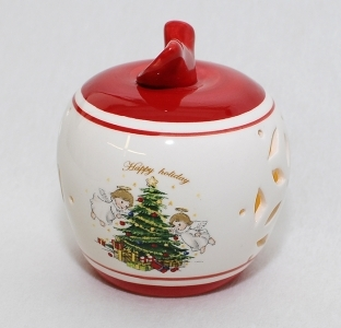 Mela Natalizia In Ceramica Forata Con Luci Da 9 Cm