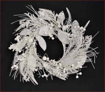 Sopraporta Coroncina Big Ring Innevato Glitter Natale 45 Cm