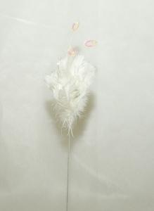 Ramo Piumato Bianco Da 50 Cm