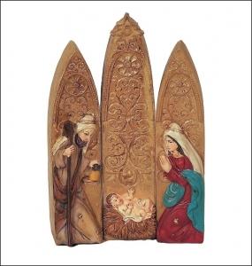Sacra Famiglia Icona Gotica 3 Elementi Natale