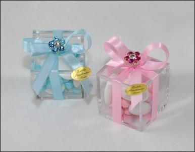 Bomboniera Plexiglas Mini Confettata Con Fiore Strass