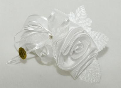 Bomboniera Segnaposto Rosa Bianca In Raso E Organza