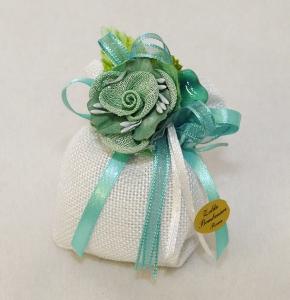 Bomboniera Sacchetto Bianco Con Rosa Tiffany Small