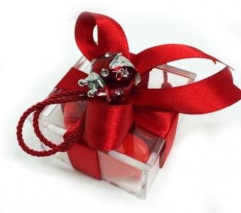 Bomboniera Scatola In Plexiglass, Coccinella Con Strass E Fiocco Rosso
